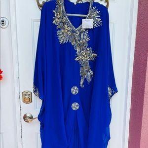 Kaftan Dress Abaya Blue Maxi NWT